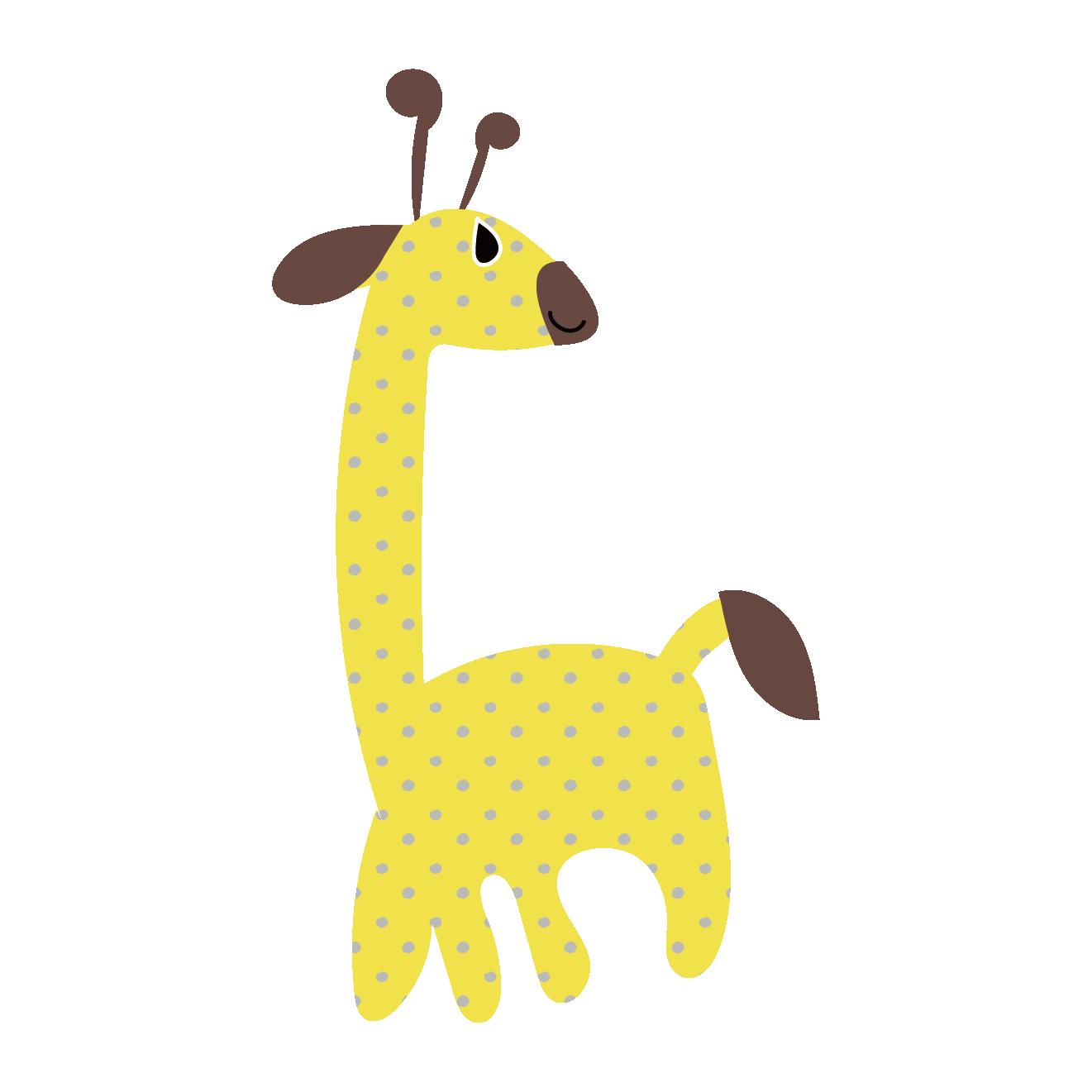 2018 年の「かわいいドット模様の麒麟(キリン・きりん)のワンポイント