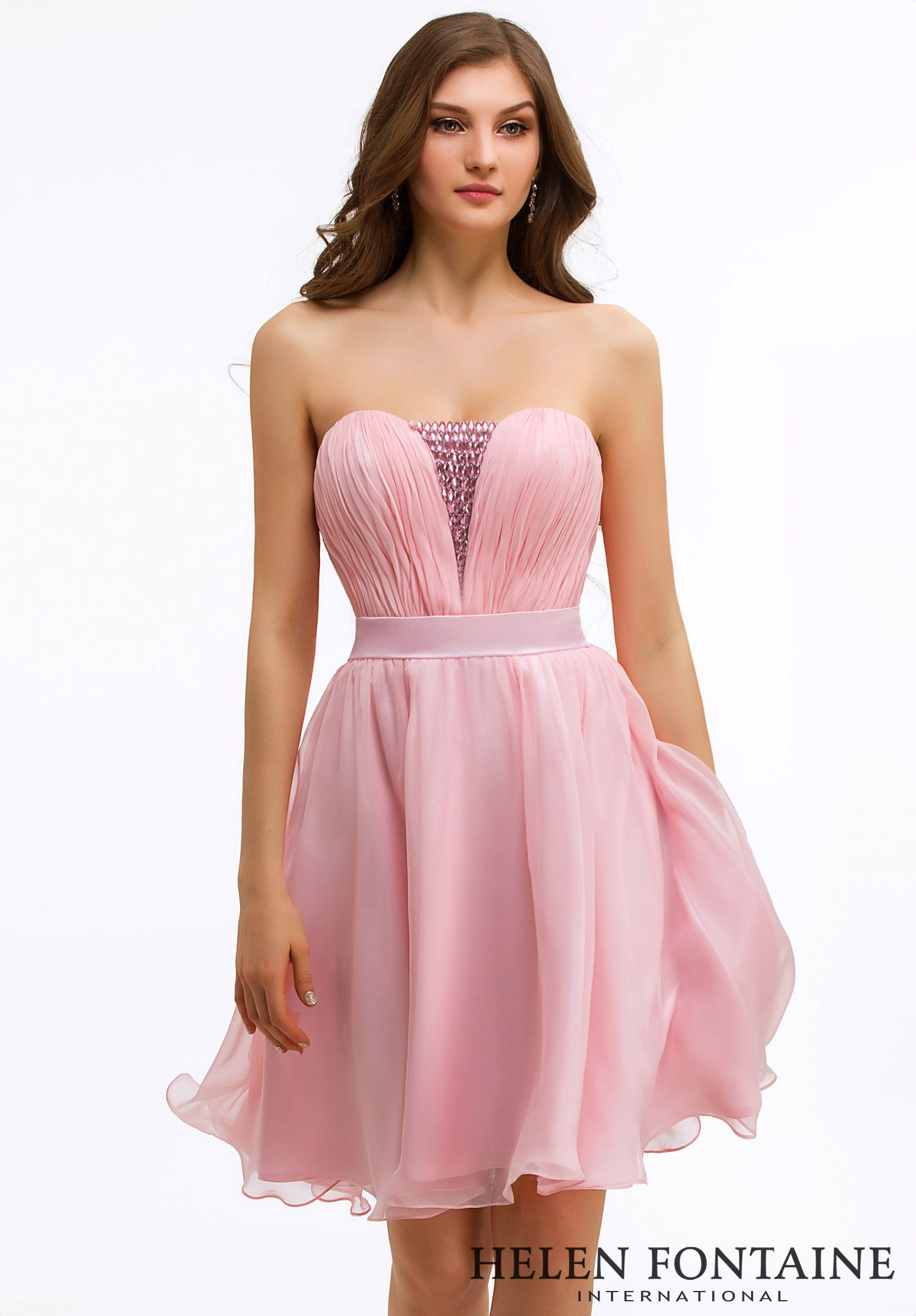 Cute Flowy Pink Chiffon Knee Length Strapless Cocktail Party Dress Style Hfc2626 Beaded Cocktail Dress Chiffon Cocktail Dress Dresses [ 2155 x 1500 Pixel ]