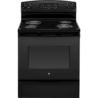 Ge 5 3 Cu Ft Electric Range With Self Cleaning Oven In Black Jb250dfbb The Home Depot Self Cleaning Ovens Oven Cleaning Electric Range