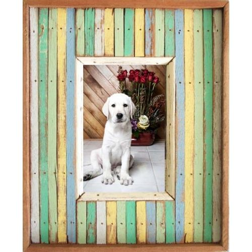 Recycled wood strips single picture frame (4x6)(out:9x10.5) $55.00 ...