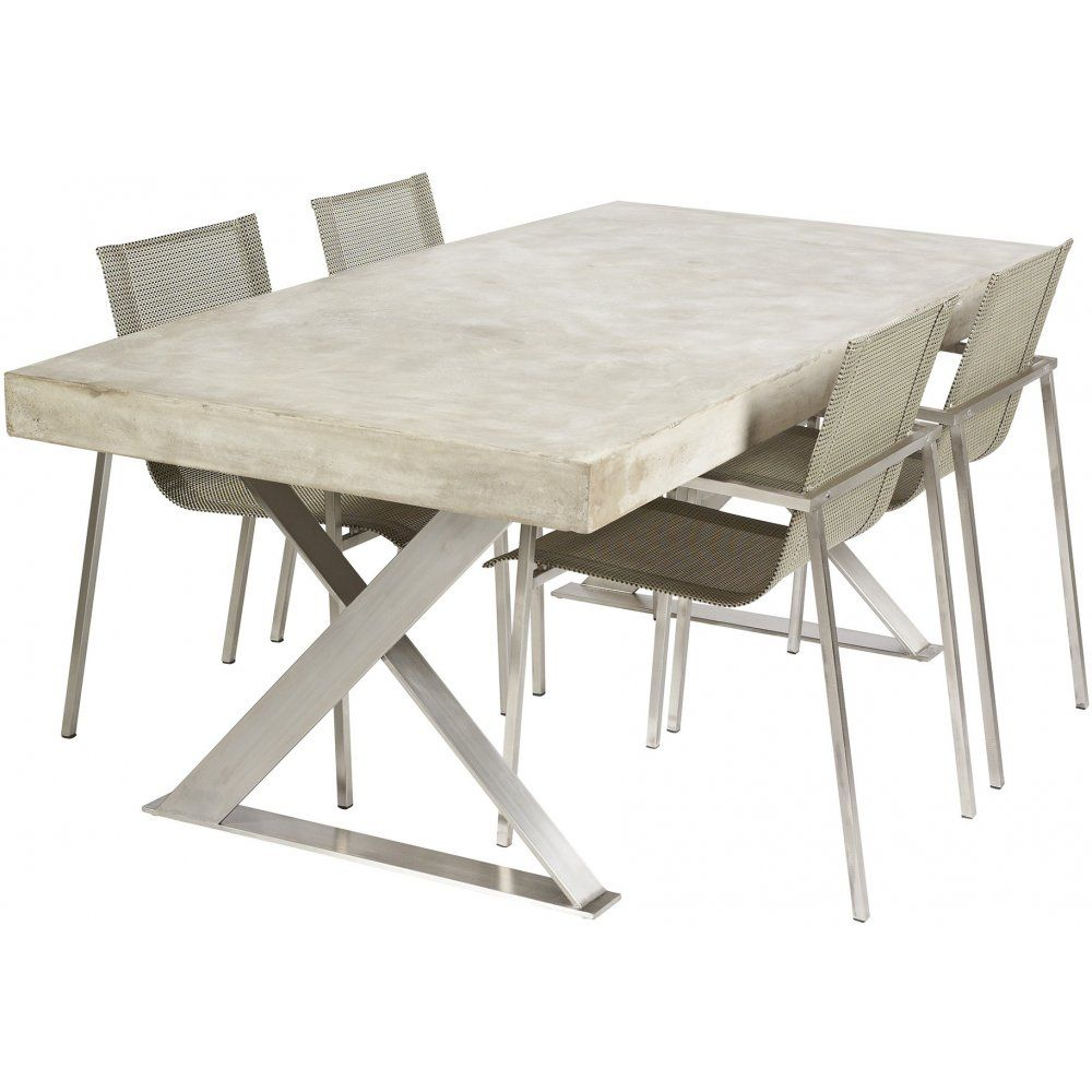 Polished Concrete Dining Table With Stainless Steel Legs