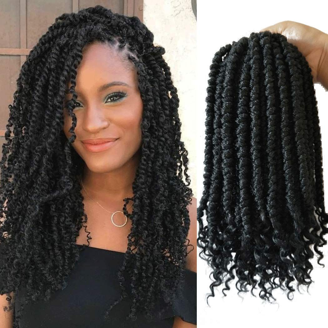 Senegalese Spring Twist Crochet Hair Curl End Black Crochet Braids