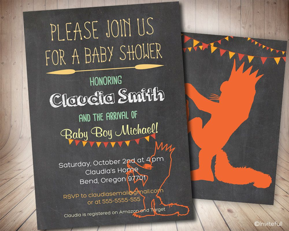 Where the wild things are Baby Shower, Wild Rumpus Shower Invitation ...