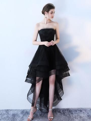 02308b46762 Chic A-line Black Strapless Simple Tulle High Low Prom Dress Evening Dress  AM584