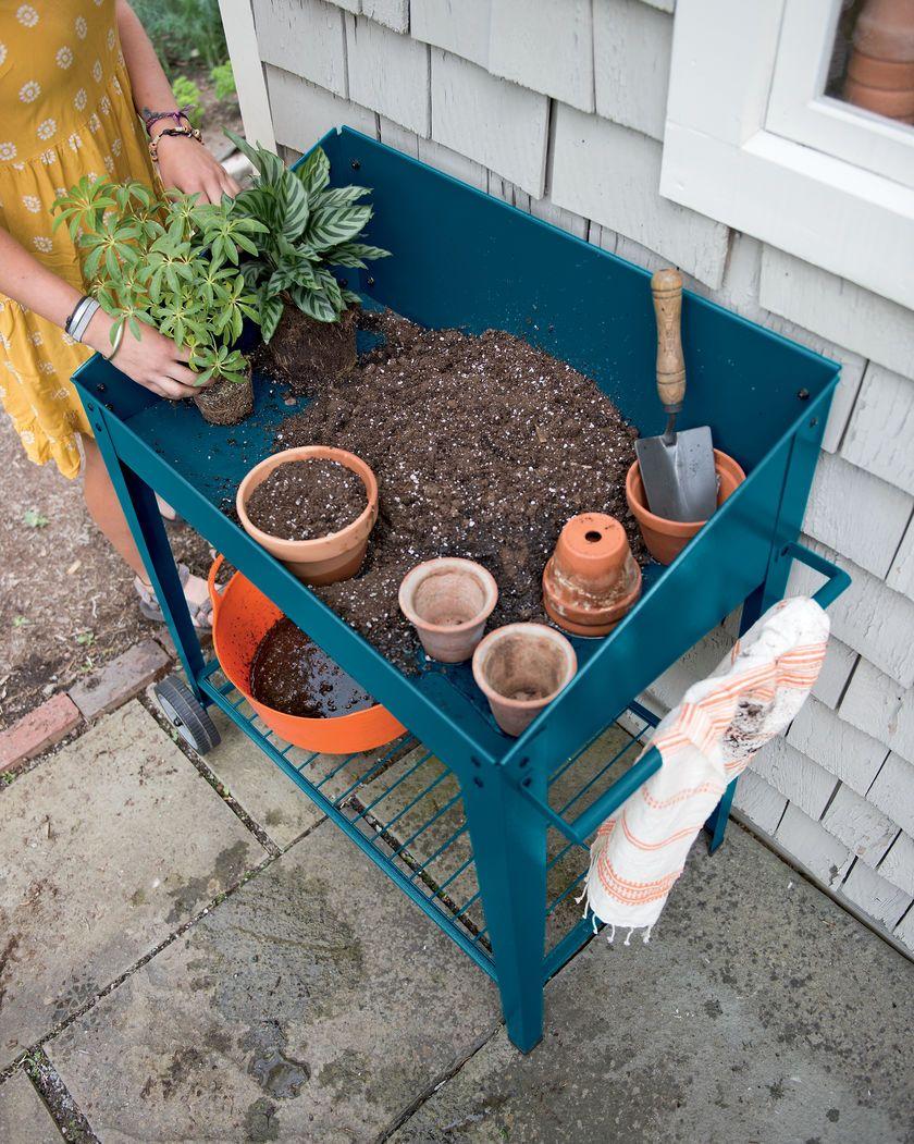Demeter Metal Potting Bench with Wheels | Mobile Potting Bench