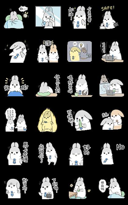 Machiko Rabbit's Work Life Sticker for LINE & WhatsApp