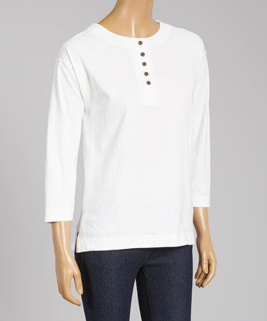 White Three-Quarter Sleeve Henley - Plus by Le Mieux #zulily #zulilyfinds