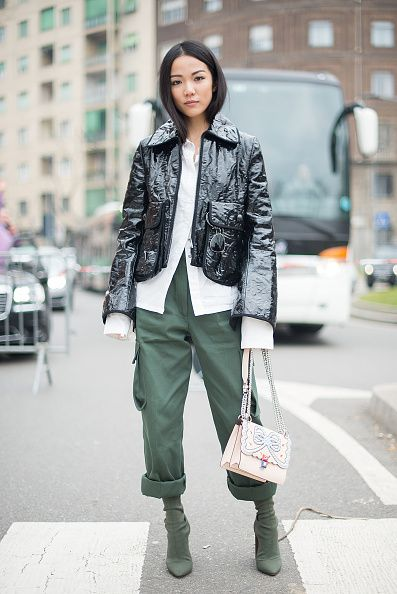 Yoyo Cao: Yoyo Cao Poses After The Fendi Show During Milan Fashion