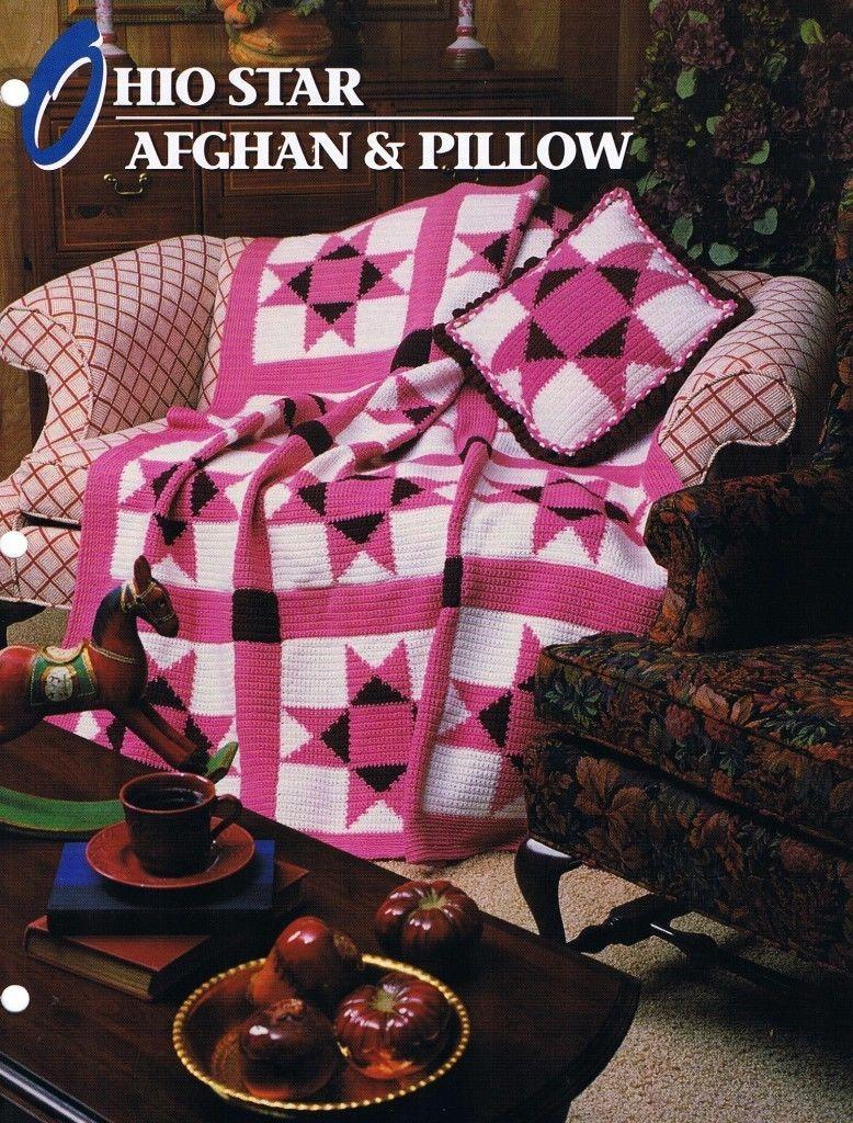 Ohio Star Afghan & Pillow Annie\'s Attic Crochet Afghan Pattern ...