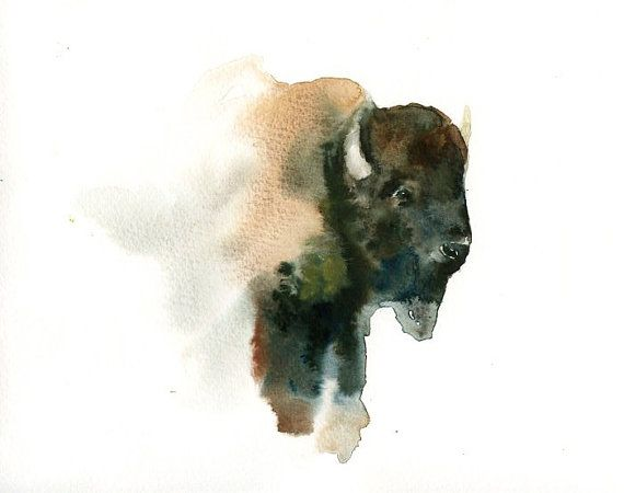 American Bison Original Watercolor Painting 10x8inch Art