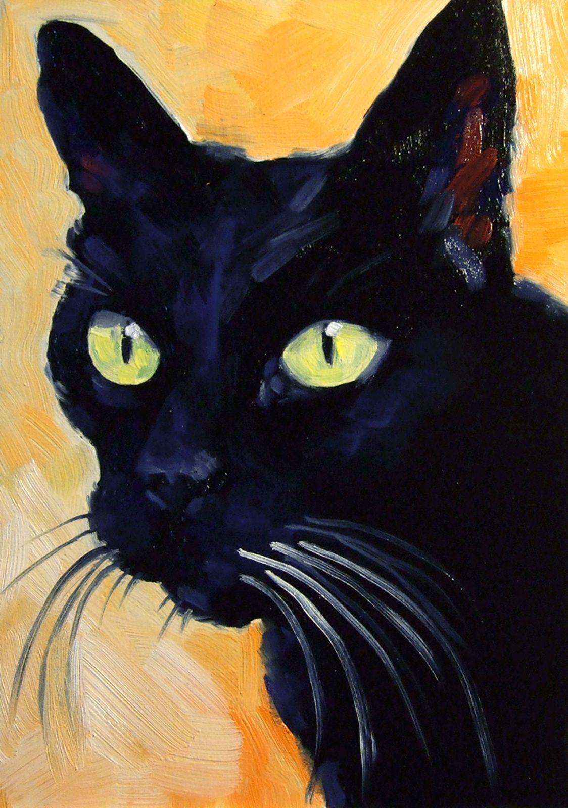Black Cat Original Oil Painting Goth Halloween Witch Art   eBay
