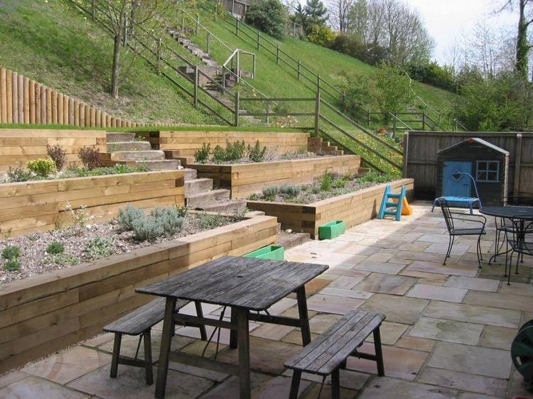 Terrasse Sur Terrain En Pente : 24 id u00e9es pour l u0026#39;am u00e9nagement de votre jardin sur une pente