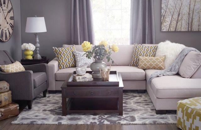 Fantastisch Farbideen Wohnzimmer Grau Gelb Farbkombination