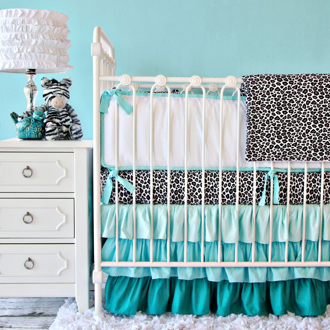 Your Y Aqua Leopard Crib Bedding Set Here Make Nursery Unforgettable With The Stylishly Over Top Ruffle