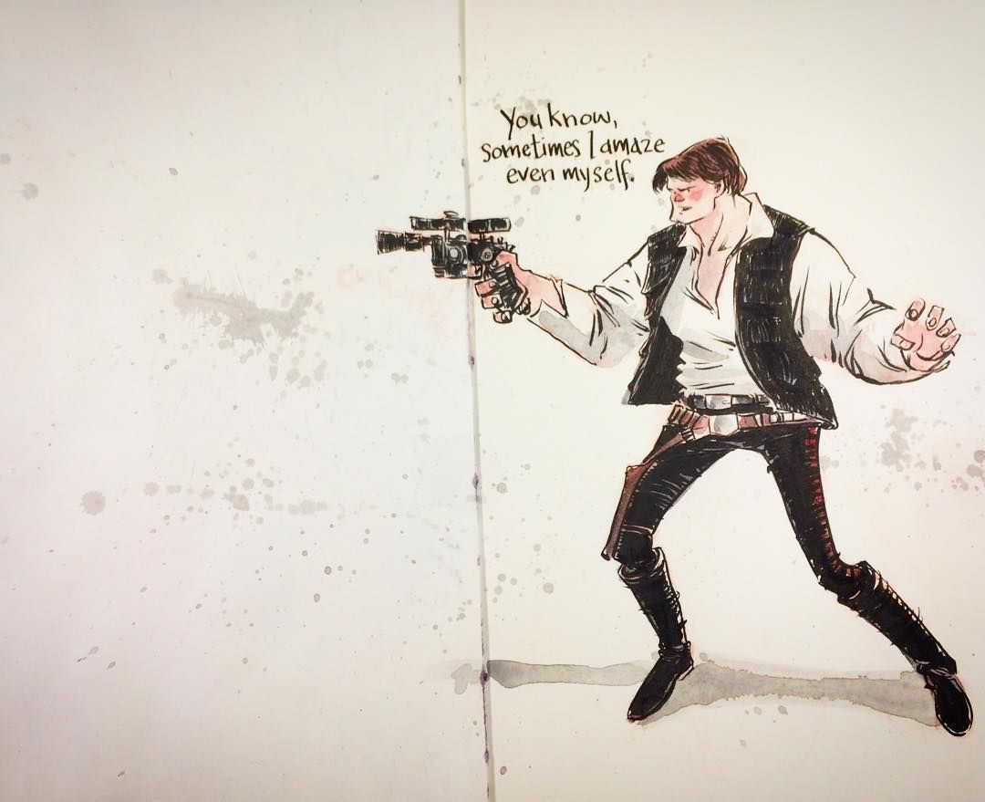Sometime we need to amaze ourselves. Try play have fun be happy. The fact is we as artists are often WAY too hard on ourselves. Create be happy (with what you created) and create more. http://rndm.us/ww  #create #sketchbook #moleskine #winsorandnewton #watercolor #starwars #hansolo #pentel #ink #inking #art