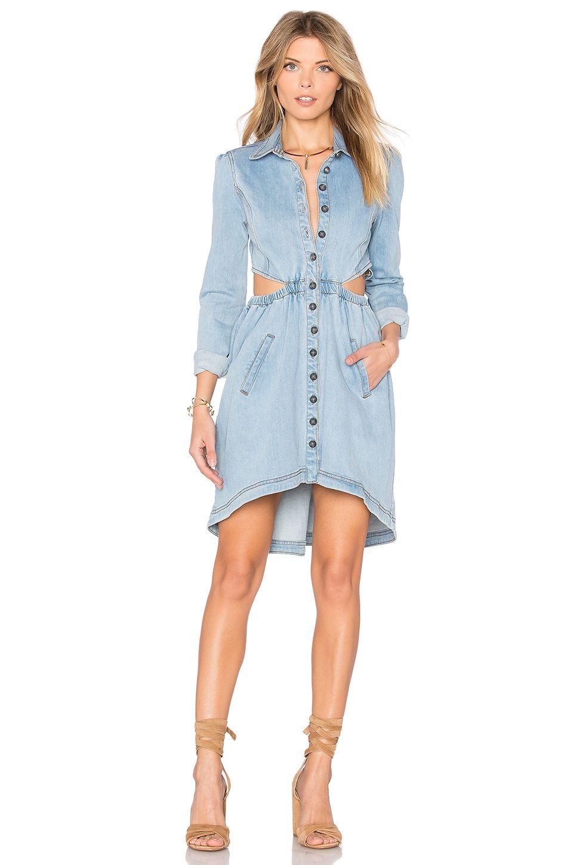 Revolve Dresses Denim Dress Side Cutout Dress [ 1450 x 960 Pixel ]