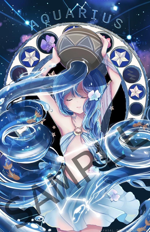 Aquarius Zodiacal Constellations Large Print Etsy Anime Zodiac Aquarius Art Anime