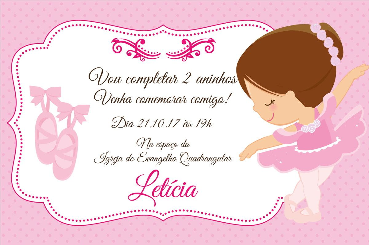 1ab171cd3c3 Convite Digital Bailarina no Elo7