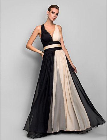 Vestido de Noche Largo para Mujer de Gasa en Corte A con Cuello en V - USD $ 99.99