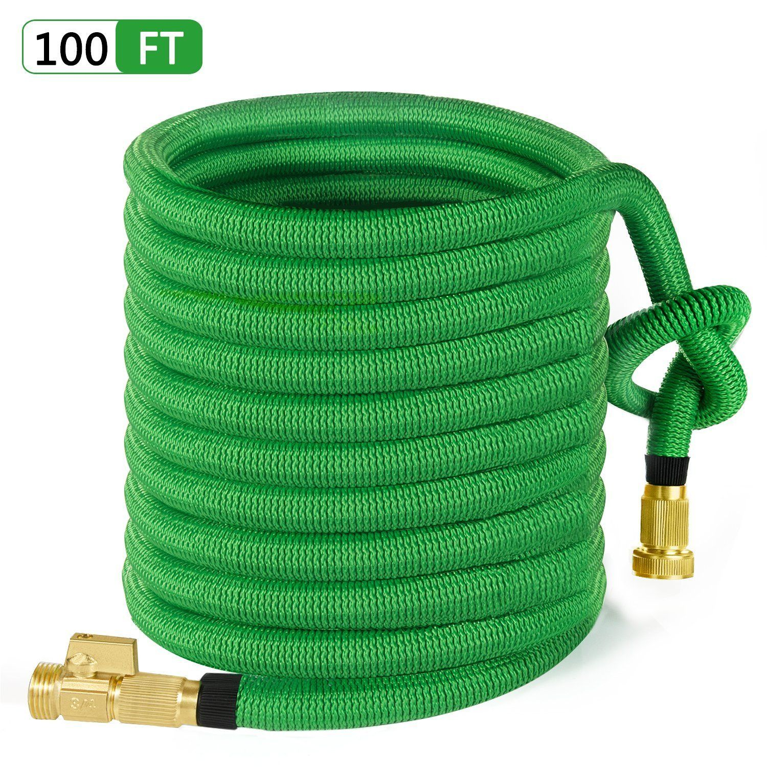 Moonla 100ft Garden Hose All New Expandable Water Hose With 3 4 Solid Brass Fittings Extra Strength Fabric Flexible Expa Garden Hose Bag Storage Water Hose