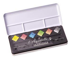 Sennelier L Aquarelle Watercolour 6 Half Pan Starter Paint Set