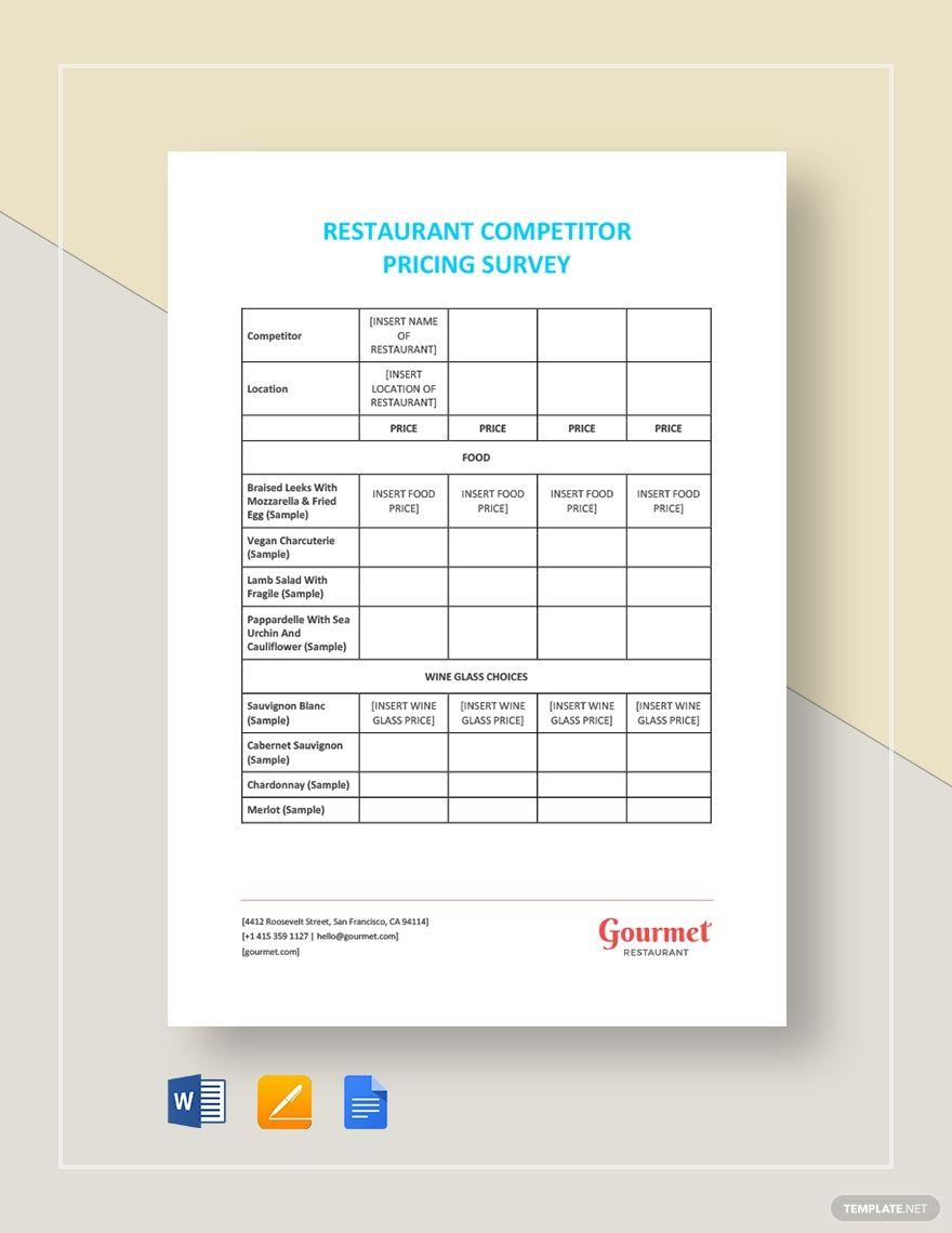 Restaurant Competitor Pricing Survey Survey Template Templates