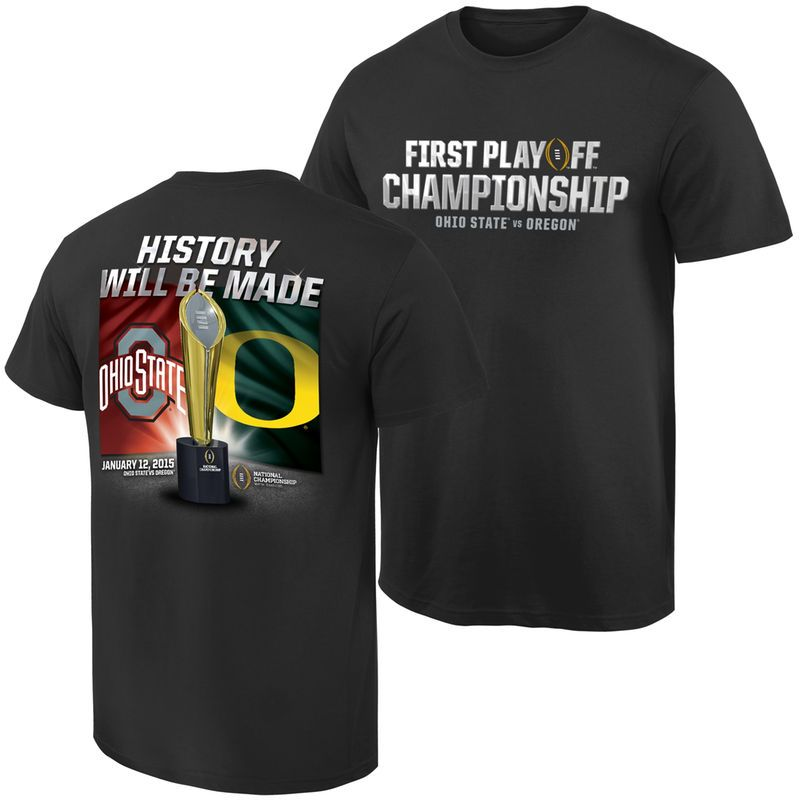Ohio State Buckeyes vs. Oregon Ducks 2015 College Football Playoff National Championship Dueling Trophy Quest T-Shirt - Black