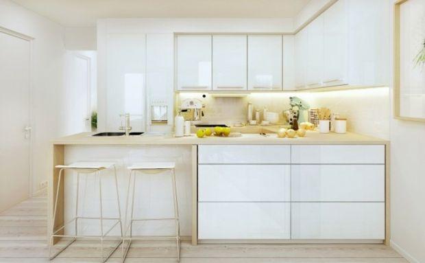 Cuisine blanche et bois - le mariage parfait pour une ambiance - Table De Cuisine Avec Plan De Travail