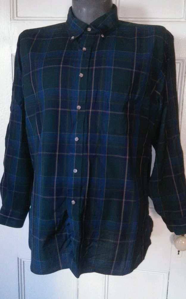Pendleton Green and Blue Plaid with Red Pinstripe Worsted Wool Shirt Size XXL