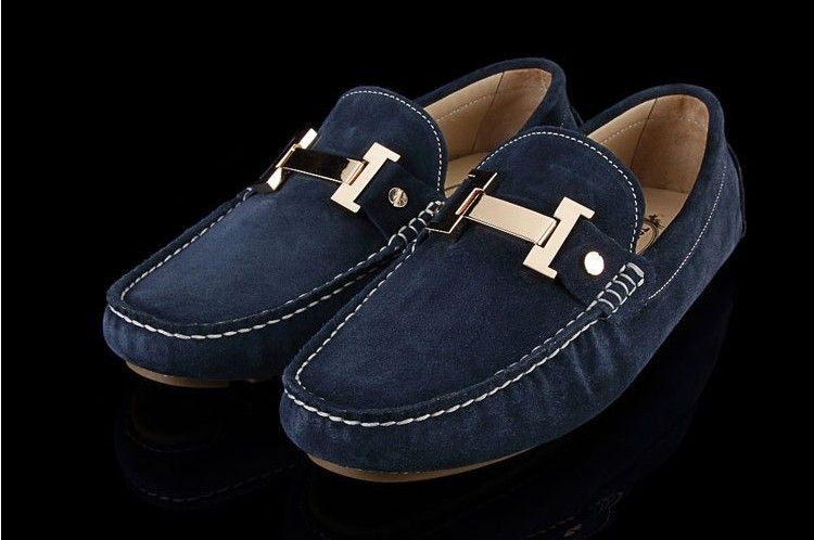 Tods Suede Gommino Blue Driving Shoes