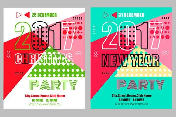 Christmas And New Year Party Flyers  Christmas Patterns Flyers