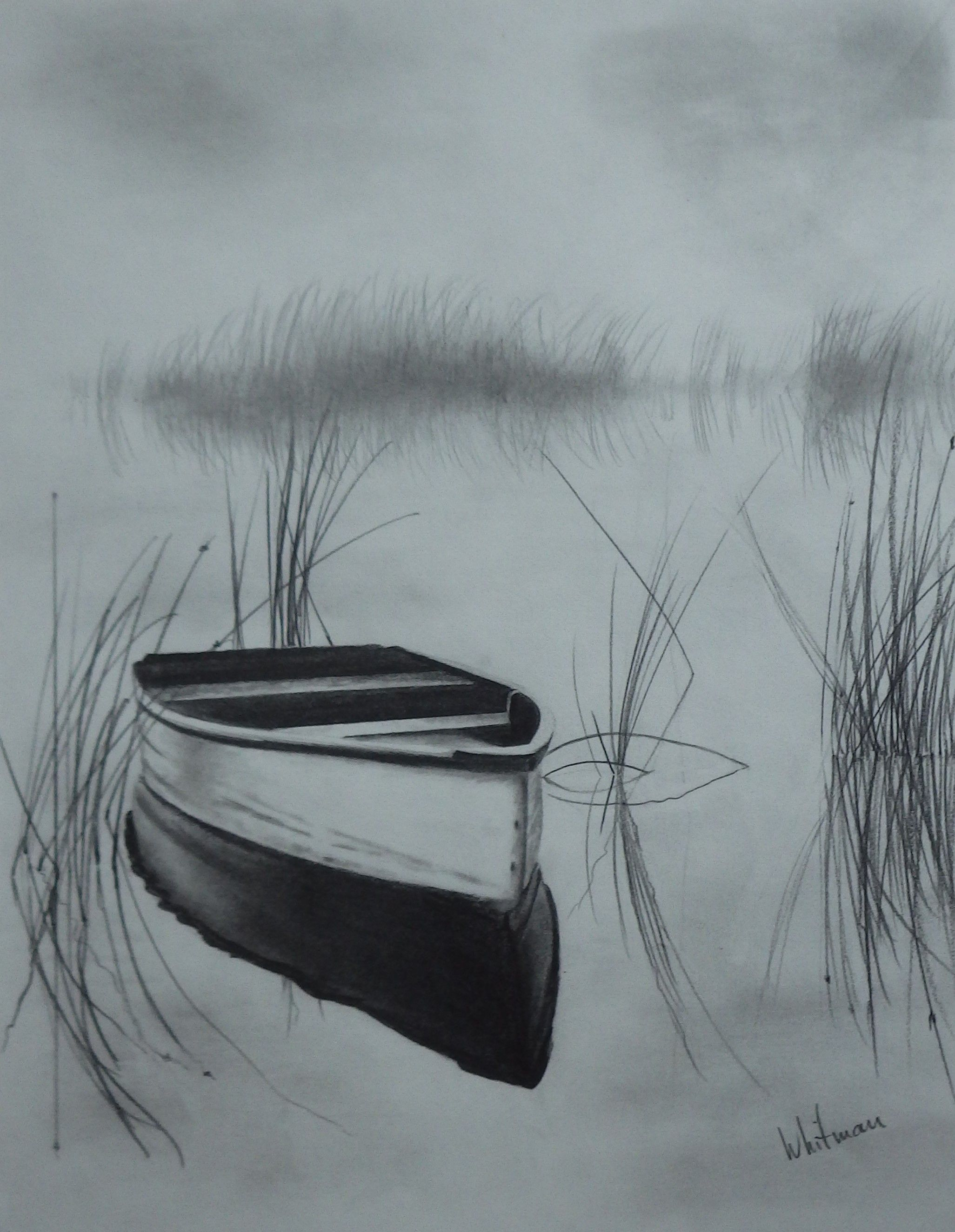 Misty row boat on the lake reflections sketch original art graphite pencil drawing by elena whitman boatingonlake