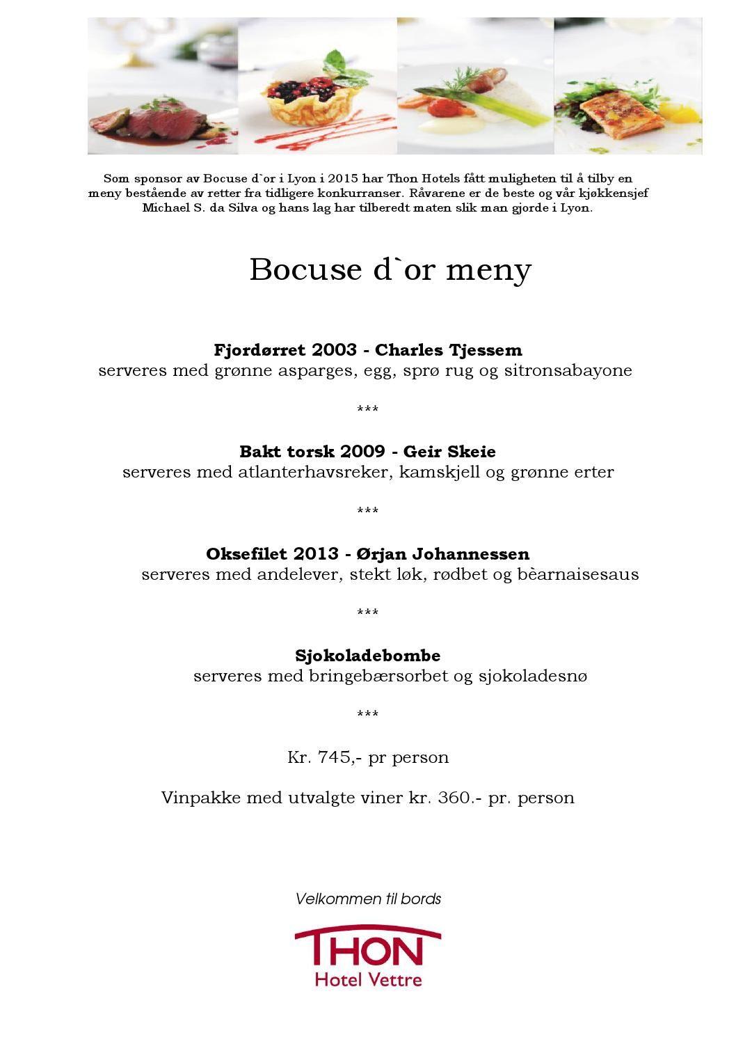Thon Hotel Vettre - Bocuse d'or meny