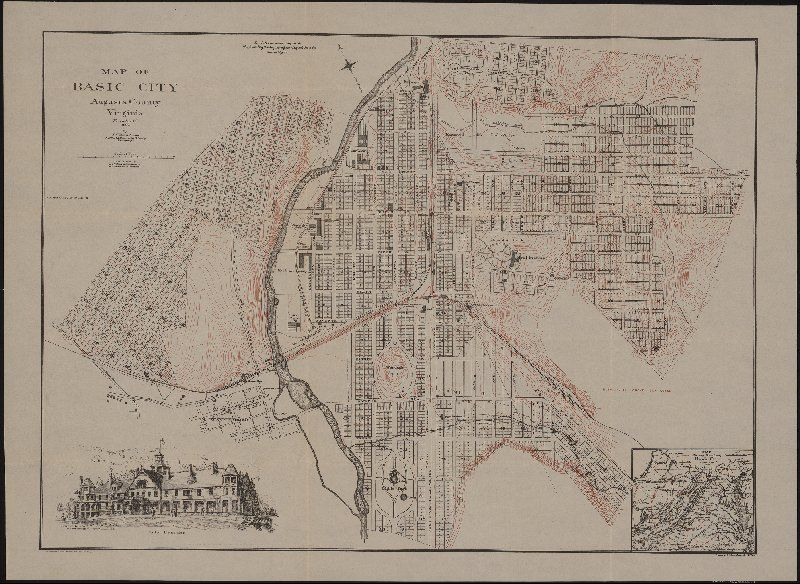 Worksheet. Map of Basic City Augusta County Virginia November 1st 1890