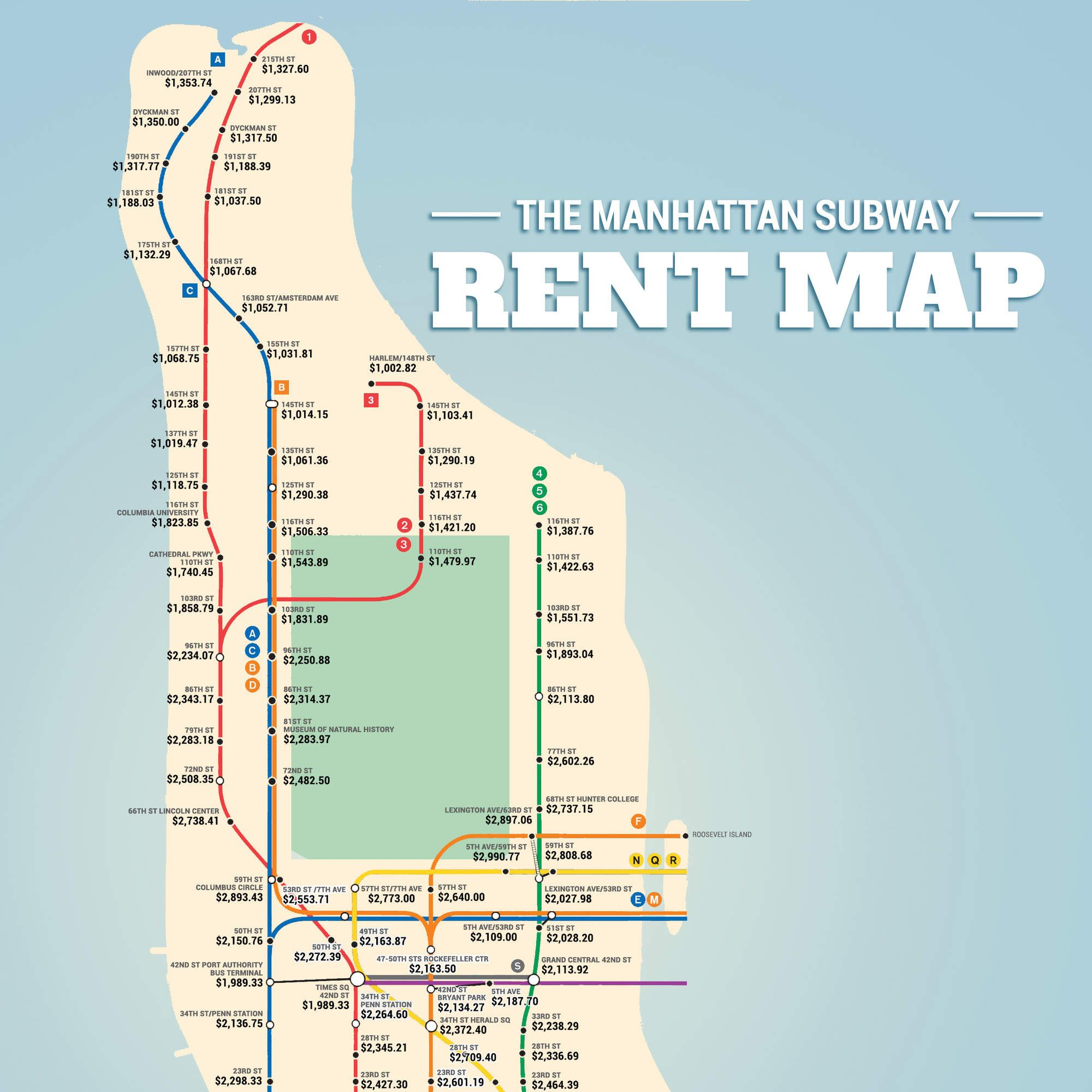 Subway Map Live.The Manhattan Subway Rent Map Where You Can T Afford To Live By