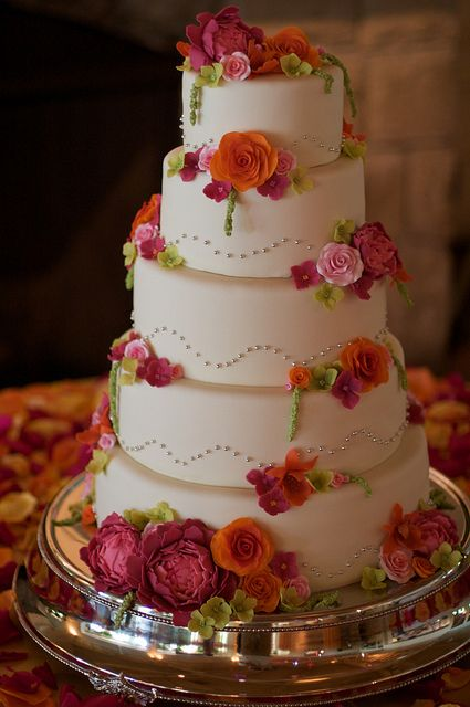 5 Tier Floral Wedding Cake by studiocake, via Flickr