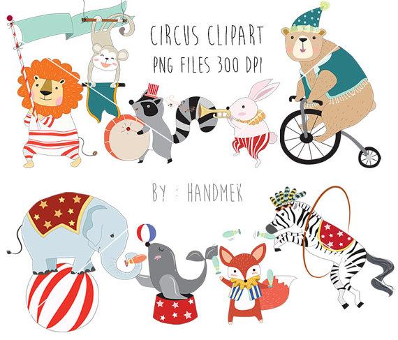 Circus Animals Clipart Cute Circus Png File 300 Dpi Etsy Animal Clipart Circus Illustration Clip Art
