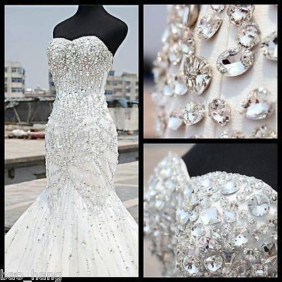 Sparkly Bling Bling Crystal Beading Backless Mermaid Wedding Dress Bridal Gown Wedding Dresses Mermaid Bling Crystal Wedding Dresses Mermaid Wedding Dress