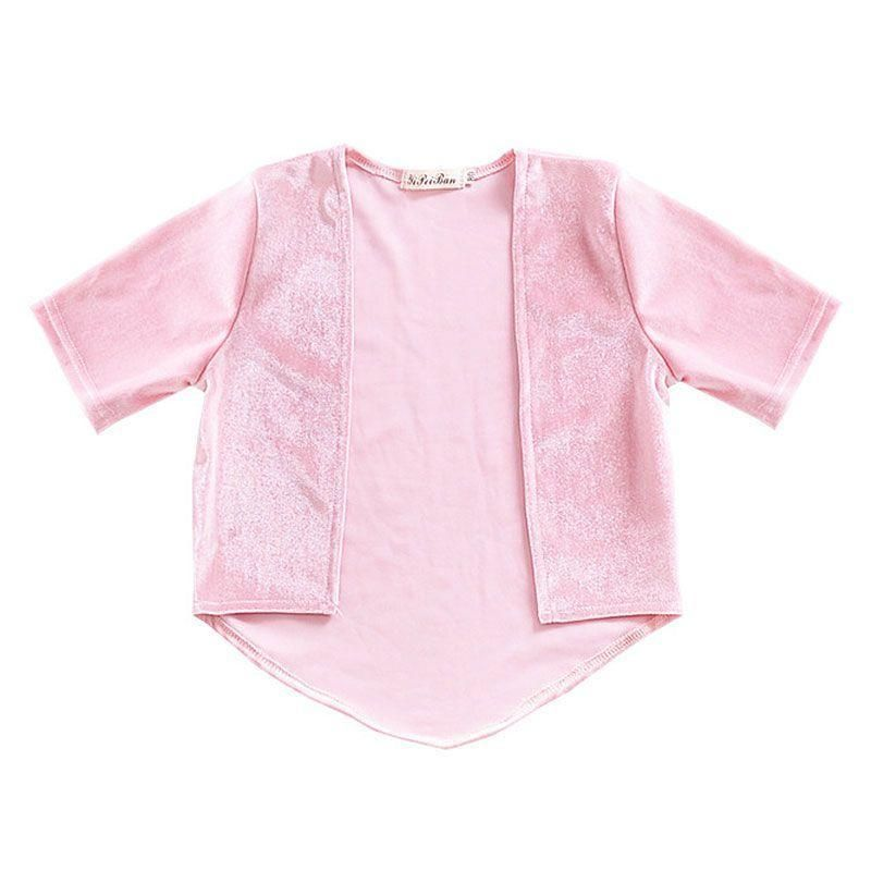 Girls Velet Pink Short Sleeves Outerwear Weight: 105g, Material: Cotton
