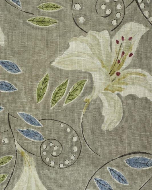 Angelicafabric A Floral Lily Painterly Design Curtain Fabric Inspired By A Vanessa Bell Painting In White With Blue And G Floral Fabric Fabric Fabric Design