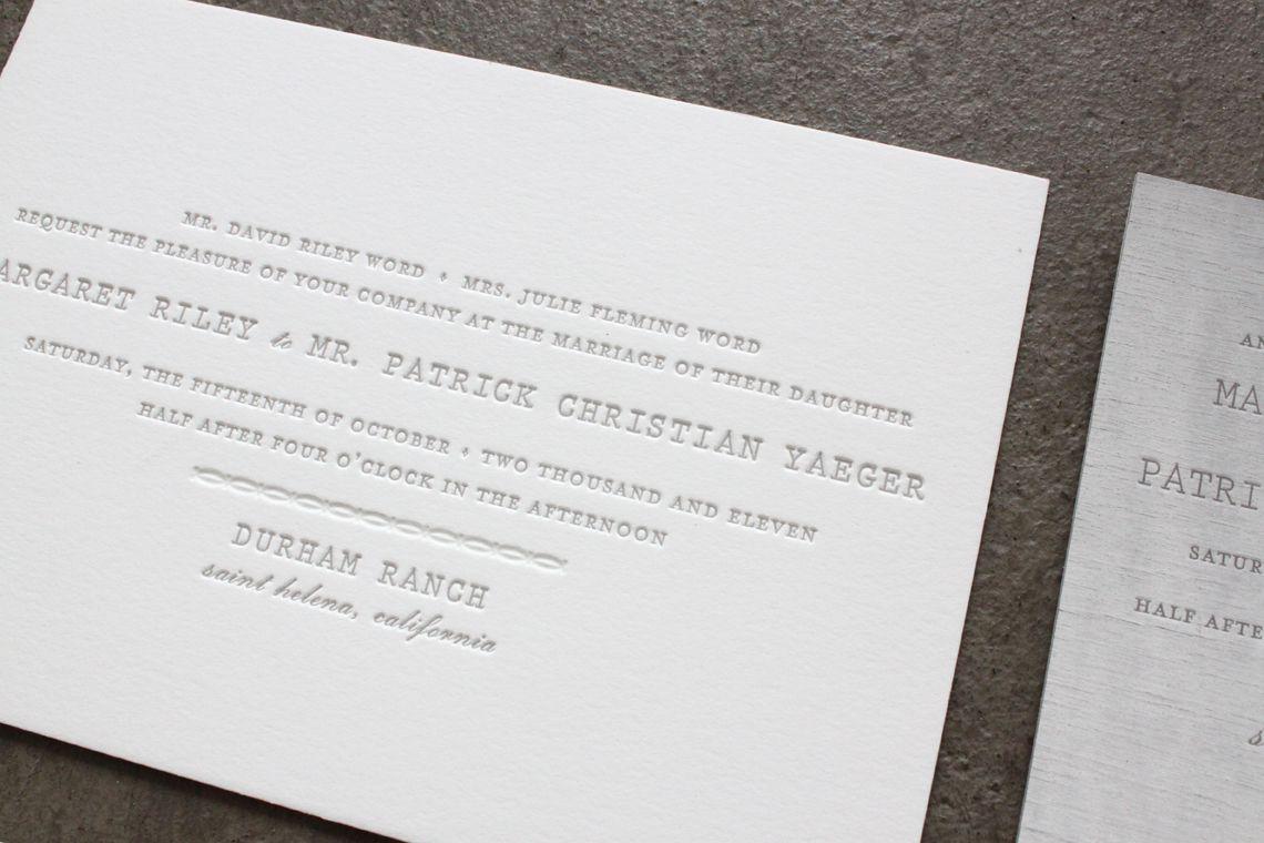 Margaret + Patrick\'s Understated Letterpress Wedding Invitations ...