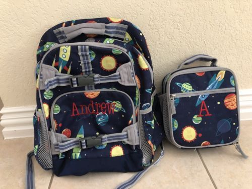 Pottery Barn Kids Navy Solar System Backpack And Lunchbox