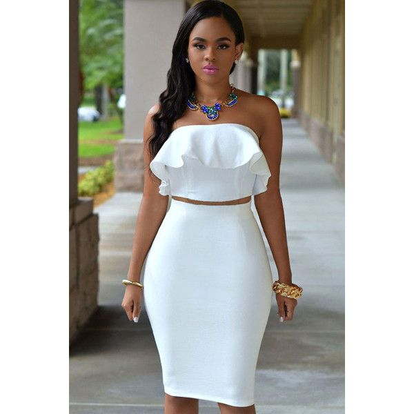 5b4bdb0be White Ruffle Strapless Bodycon 2pc Dress ($27) ❤ liked on Polyvore  featuring dresses, white, flutter-sleeve dress, white two piece dress,  frilly dresses, ...