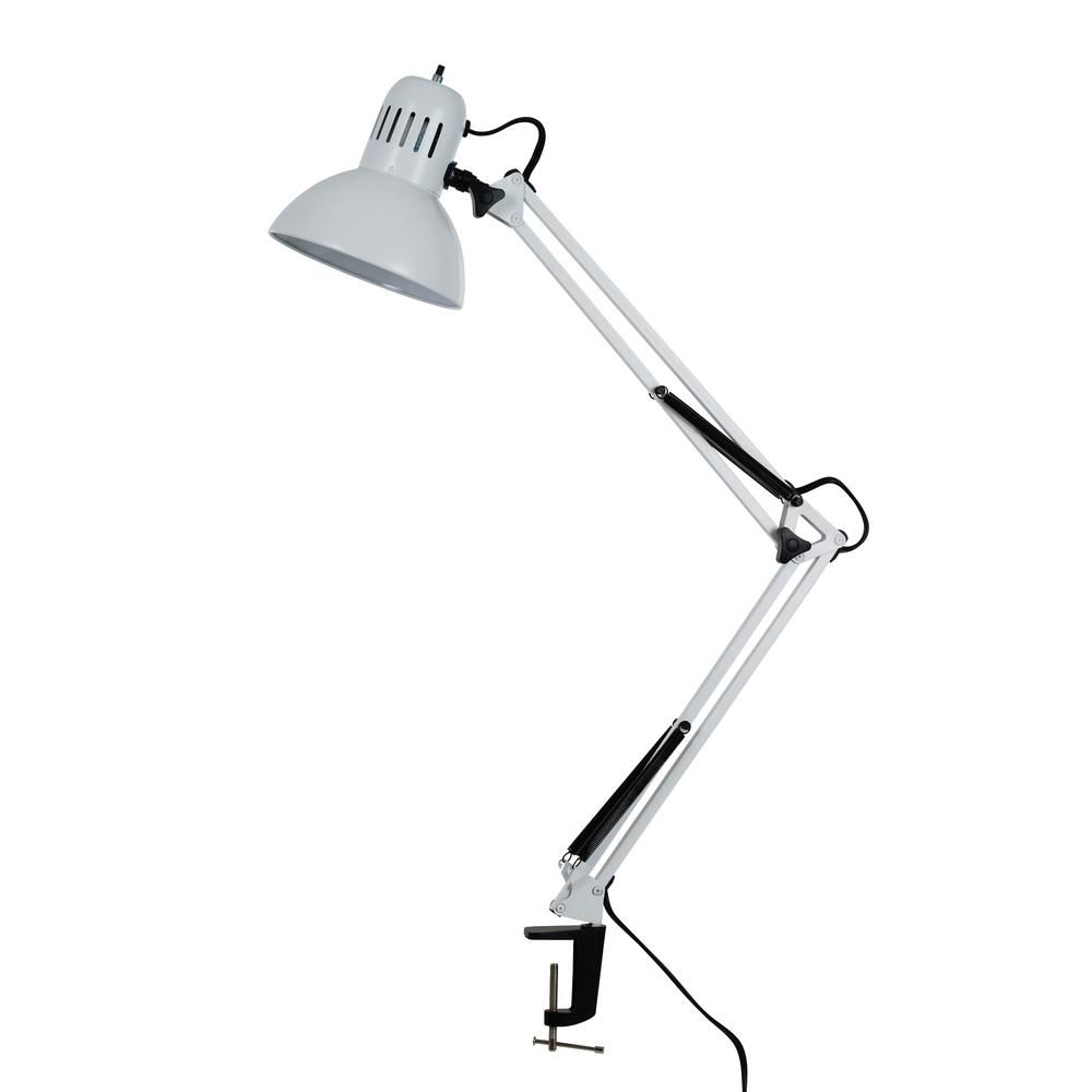 Tensor 37 4 In White Swing Arm Desk Lamp With Metal Clamp 17347 008 Desk Lamp Adjustable Desk Lamps Lamp