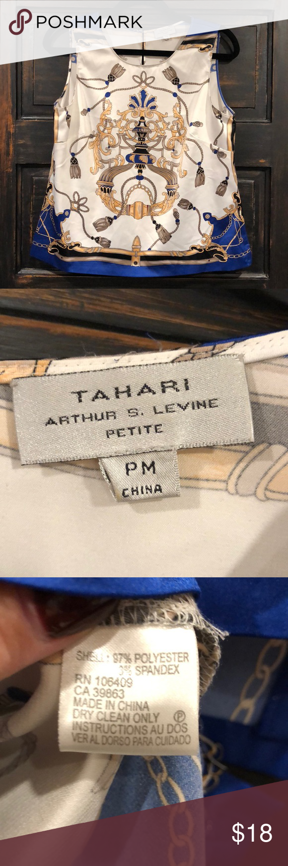 c2f756669e4 Arthur S Levine Tahari Boss Lady Satin shirt Lovely Satin shirt reminiscent  of Chanel and Gucci. Great for work. Would look stunning under a blazer.