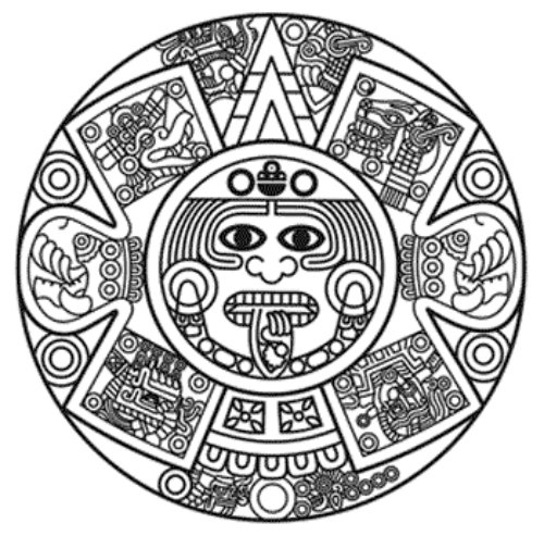 Stylized Aztec Calendar In Gold Color Vector Illustration