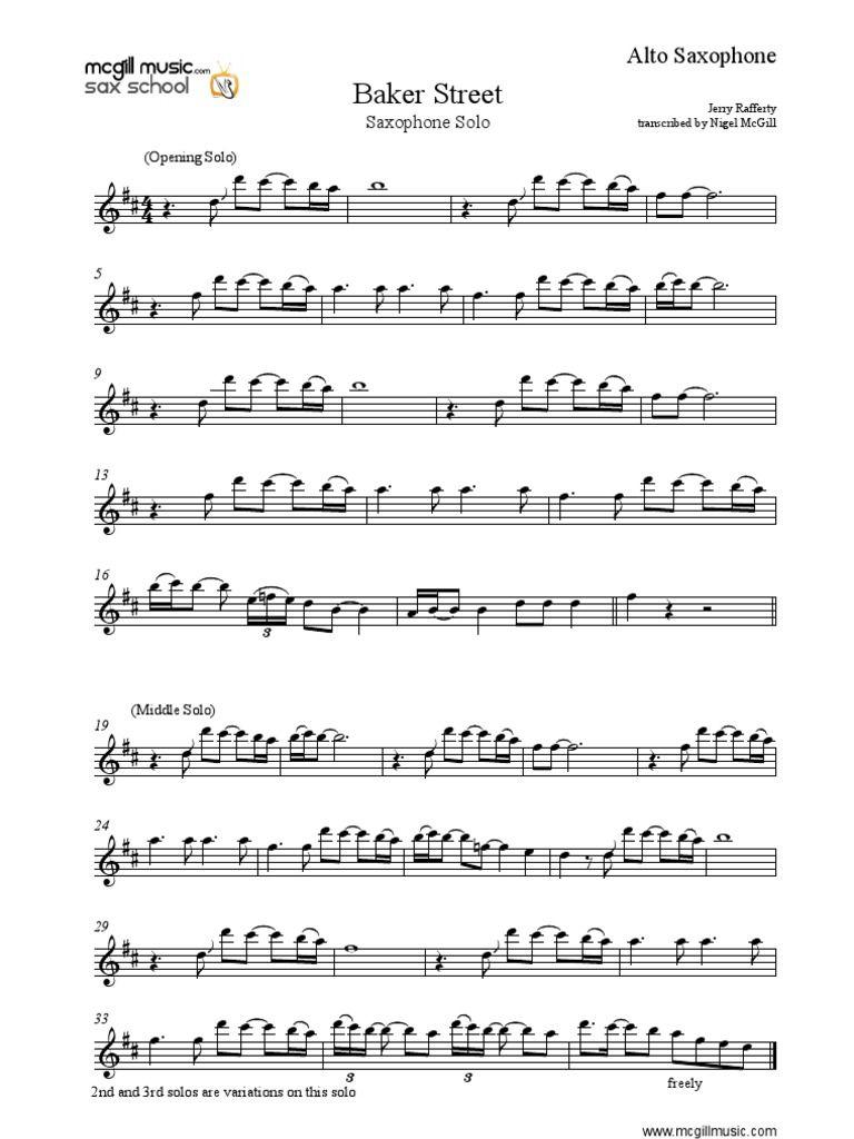 Image result for baker street saxophone sheet music