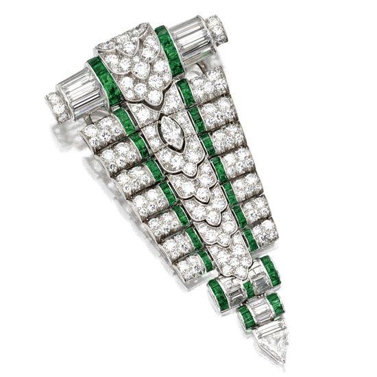historic jewels | Historic | Gems | Jewels / Platinum, Diamond and Emerald Pendant/Clip ...