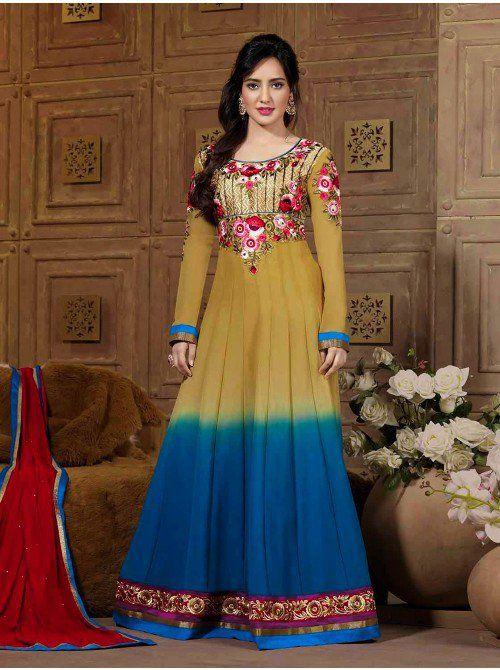 Mustard Yellow Georgette Anarkali Suit With Resham Work