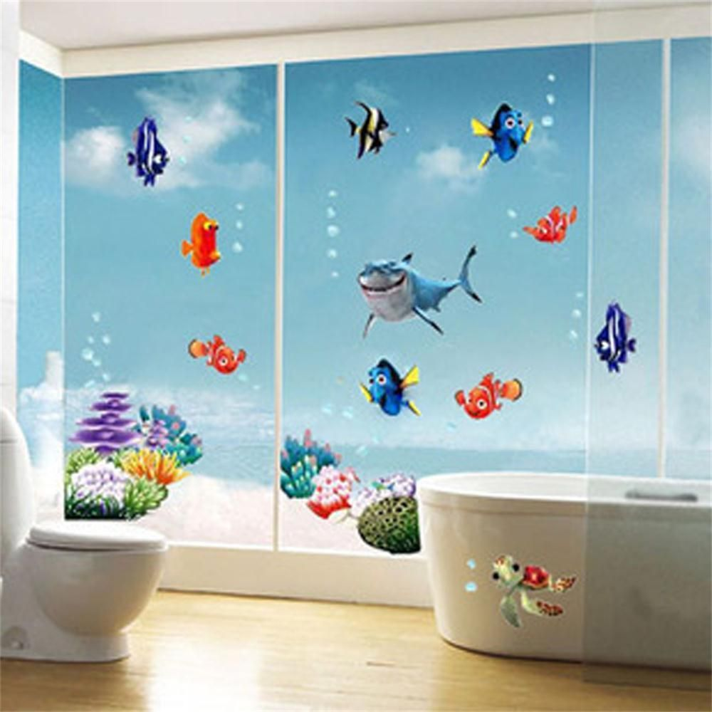 Bathroom wall art sea - Wonderful Sea World Colorful Fish Animals Vinyl Wall Art Window Bathroom Decor Decoration Wall Stickers For